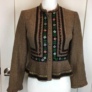Nanette Lepore Brown Tweed Embellished Jacket 2